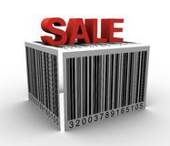 3D Barcode box. 3D Barcode on box with Sale text on top Royalty Free Stock Photo