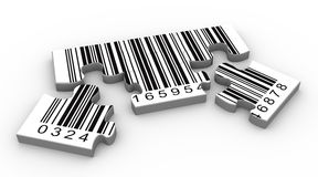 3d barcode puzzle. 3d render of bar code puzzle peaces Stock Photography