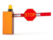 3d barrier with sign stop. Barrier with sign stop on white background Stock Images