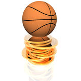 3d basket ball on golden coins. Isolated on a white background Royalty Free Stock Photography