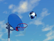 3D basketball. And silver globe Stock Photo