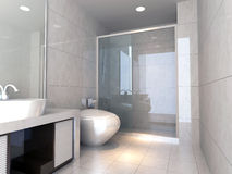 3d bathroom. Modern design interior of stylish bathroom. 3D render Royalty Free Stock Photos