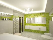 3d bathroom. Modern 3d bathroom with furniture Royalty Free Stock Image