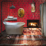 3D bathroon interior design. Bathroom interior design,fashion and retro style Royalty Free Stock Photos