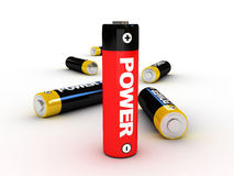 3d battery. For power concept - isolated Royalty Free Stock Image