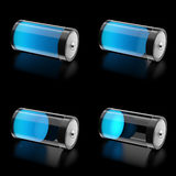 3D Battery with 4 states of charge level. Icons Royalty Free Stock Image