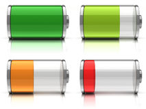 3d Battery icons. With different charge levels on white background Royalty Free Stock Photography