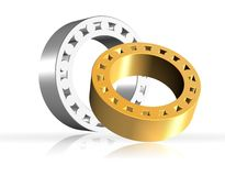 3D bearings. An illustration of two shiny 3d bearings Stock Images