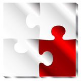 3D beautiful puzzle illustration. Vector 3D red and white beautiful puzzle Royalty Free Stock Photos