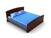 3d bed. 3d illustration of blue bed over white background Royalty Free Stock Photography