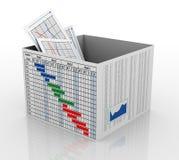 3d bedrijfsgrafiek in het vakje Stock Foto's