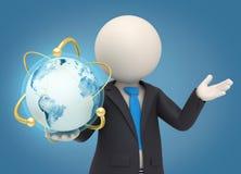 3d bedrijfsmens die een atoomaardebol houden Stock Afbeeldingen