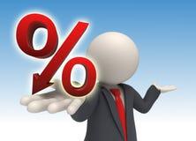 3d bedrijfsmens die een groot rood percent geeft ondertekent Stock Fotografie