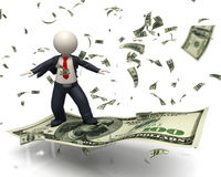 3d bedrijfsmens die op de dollarbankbiljet van de 100 V.S. vliegen Stock Foto