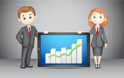 3d BedrijfsMensen met de Grafiek van het Bedrijf Royalty-vrije Stock Afbeelding