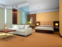 3d bedroom and living-room rendering. Modern design interior of bedroom and living-room. 3D render Stock Image