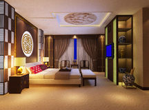 3d bedroom rendering 1. Modern design interior of bedroom. 3D render Stock Photo