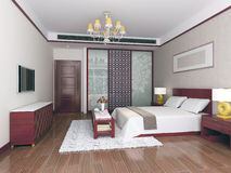 3d bedroom rendering. Modern design interior of bedroom. 3D render Royalty Free Stock Photo