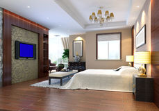 3d bedroom rendering. Modern design interior of bedroom. 3D render Royalty Free Stock Image