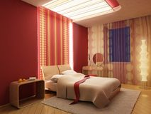 3d bedroom rendering. 3d rendering of the modern bedroom Stock Image