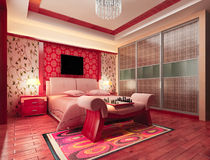 3d bedroom rendering. Modern design interior of bedroom. 3D render Stock Photo