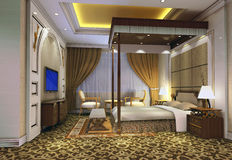 3d bedroom rendering 3. Modern design interior of bedroom. 3D render Royalty Free Stock Image