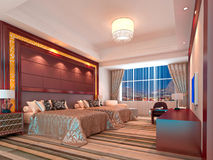 3d bedroom rendering, hotel rooms. Modern design interior of bedroom, hotel rooms. 3D render Stock Image