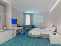 3d bedroom rendering, hotel rooms. Modern design interior of bedroom, hotel rooms. 3D render Stock Photos