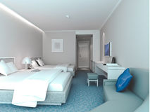 3d bedroom rendering, hotel rooms. Modern design interior of bedroom, hotel rooms. 3D render Royalty Free Stock Image