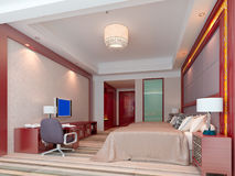 3d bedroom rendering, hotel rooms. Modern design interior of bedroom, hotel rooms. 3D render Royalty Free Stock Photos