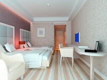 3d bedroom rendering, hotel rooms. Modern design interior of bedroom, hotel rooms. 3D render Stock Photo