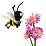 3D bee. Isolated 3D bee with flowers Stock Images