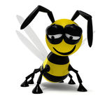 3D bee. Isolated very tired 3D bee Royalty Free Stock Image