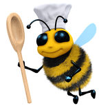 3d Bee chef with spoon Royalty Free Stock Photos