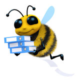 3d Bee does some filing. 3d render of a bee holding some folders Royalty Free Stock Images