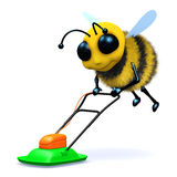 3d Bee mows the lawn. 3d render of a bee mowing the lawn Royalty Free Stock Photos