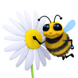 3d Bee next to a flower. 3d render of a bee flying near a flower Stock Photo