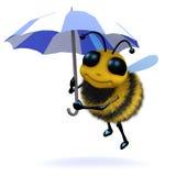 3d Bee under an umbrella. Stock Image