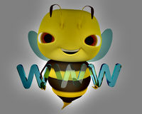 3d bee www. The bee holds an Internet sign www vector illustration