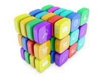 3d beelden van pictogrammen voor telefoon Stock Afbeelding