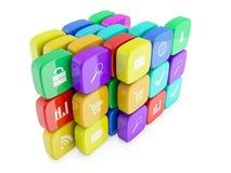 3d beelden van pictogrammen voor telefoon Royalty-vrije Stock Fotografie