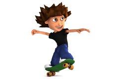 3D beeldverhaal dat jongen met een skateboard rijdt Royalty-vrije Stock Afbeelding