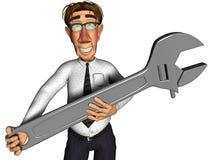 3d beeldverhaal van de zakenmanmoersleutel Stock Foto
