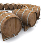 3D beer barrel circle 01. A circle of beer barrels on white background Royalty Free Stock Image