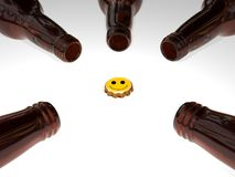 3D Beer Bottles. 3d rendering of beer bottles and a smiley face cap Stock Photography