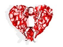 3d behandla som ett barn glass hjärta Arkivfoto