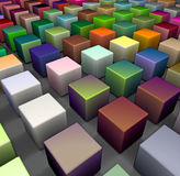 3d beveled cubes in multiple bright colors. 3d render of beveled cubes in multiple bright colors Royalty Free Stock Photo