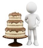 3D biały ludzie. Czekolady ciastko tort i Obraz Stock