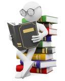 3D biały ludzie. Uczeń czyta książkę royalty ilustracja