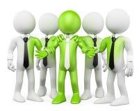 3D biały ludzie. Zielona praca zespołowa Zdjęcia Stock